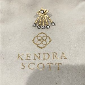 Auth KENDRA SCOTT Evil Eye Frost Gold Earring